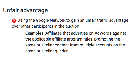 Adwords Unfair Advantage Policy